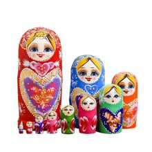 10ชั้น/ชุดMatryoshkaไม้รัสเซียตุ๊กตาเด็กคริสต์มาสของขวัญไม้