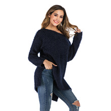 2019 New Autumn Winter Fashion Round Neck Pullover Sweater Female Loose Short Casual Warm Long sleeve Knitted
