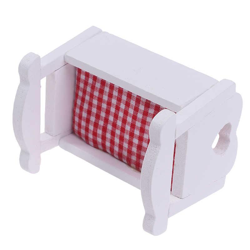 Новое поступление 1:12 кукольный домик Миниатюрный белый деревянный Кардл детская кровать Модель мебель игрушки