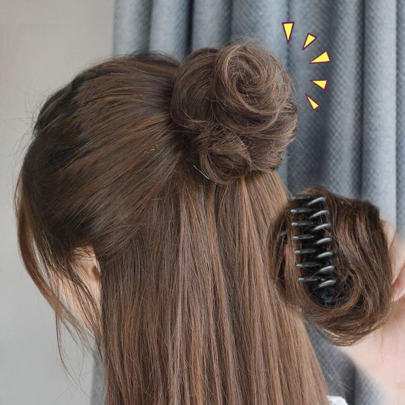 Ailiade alta temperatura sintético bagunçado clipe chignon donut cor natural garra chignons extensões de cabelo para mulher
