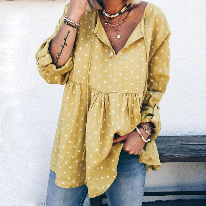 Women Casual Loose Blouse Print Spring New Long Sleeve Blouses Shirts Sexy V Neck Drawstring Plus Size Ladies Tops Women