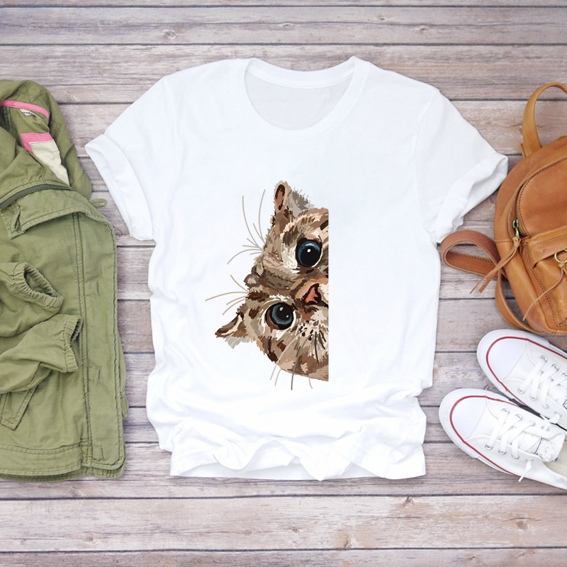 Women Cat Cartoon Cute Style Print Short Sleeve Clothing Summer Shirt T-shirts Top T Graphic Female Ladies Womens Tee T-Shirt