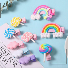 New Girls Cute Colorful Cloud Candy Rainbow Hairpins Children Hair Lovely Clips Barrettes Headband Kids Fashion Hair Accessories(China)