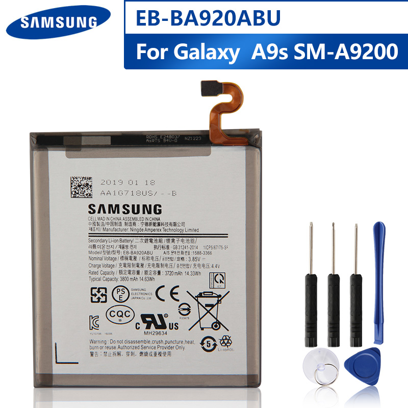Original Replacement Phone Battery EB-BA920ABU For Samsung Galaxy A9s SM-A9200 A9200 2018 Version A9 A920F Battery 3800mAh