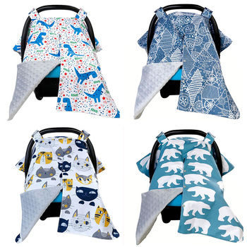 Baby Car Seat Canopy for Boys Nursing Cover Safety Seat Sun Shade Animals Winter Wind Cover Infant 3 In 1 Stroller Accessories image