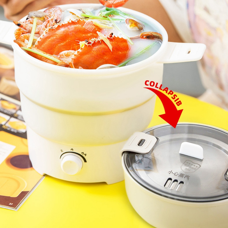 Foldable Electric Frying Pan Kettle Heated Food Container Heated Lunch Box Cooker Portable Multifunctional Thermal Cooker US Plu