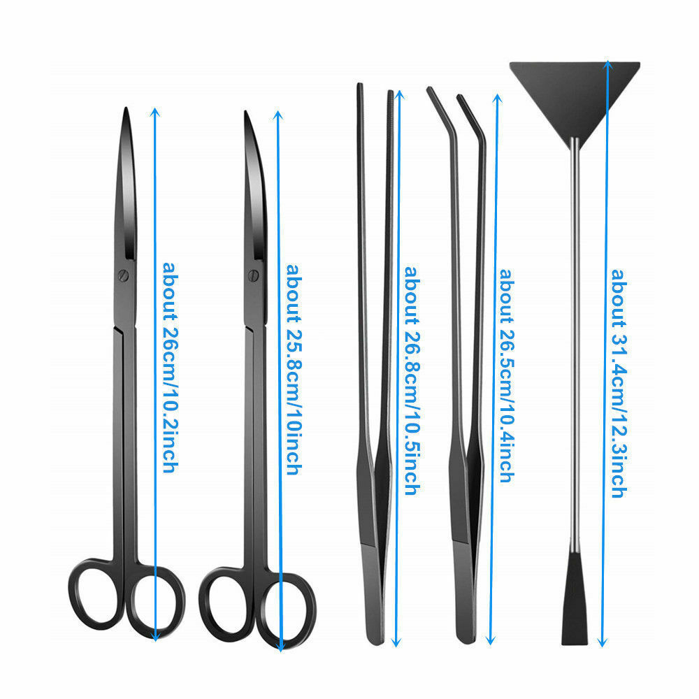 "Image 4 - 6 PCS/lot 10"" Aquarium Cleaning Tools Aquascaping Landscaping Tool Kits Stainless Steel Aquatic Plants Scissors Tweezers Set-in Cleaning Tools from Home & Garden"