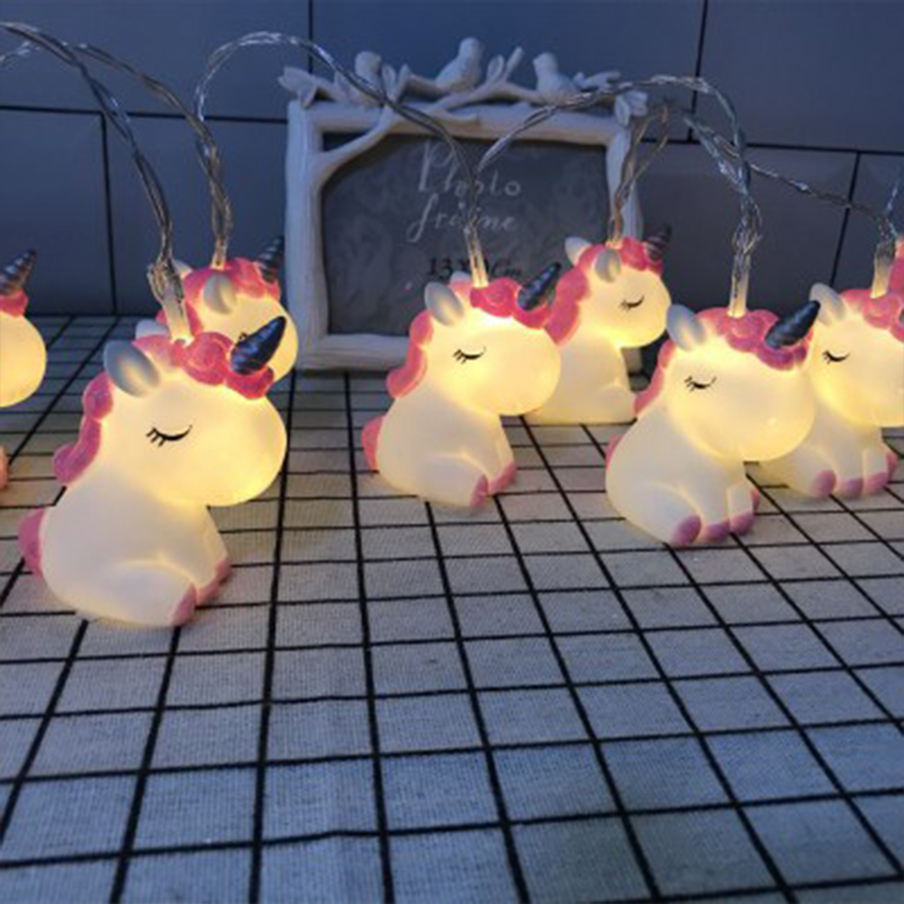 New LED Cartoon Unicorn Lamp Silicone Animal String Fairy Light Battery Powered For Christmas Baby Children Room NEW YEAR Decor