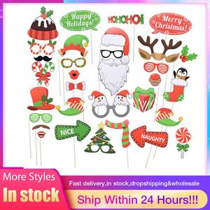 Christmas Photo Booth Props Kit Merry Xmas Sign Santa Hat Beard Antler Speech Bauble Holiday Family Reunion Party Decor