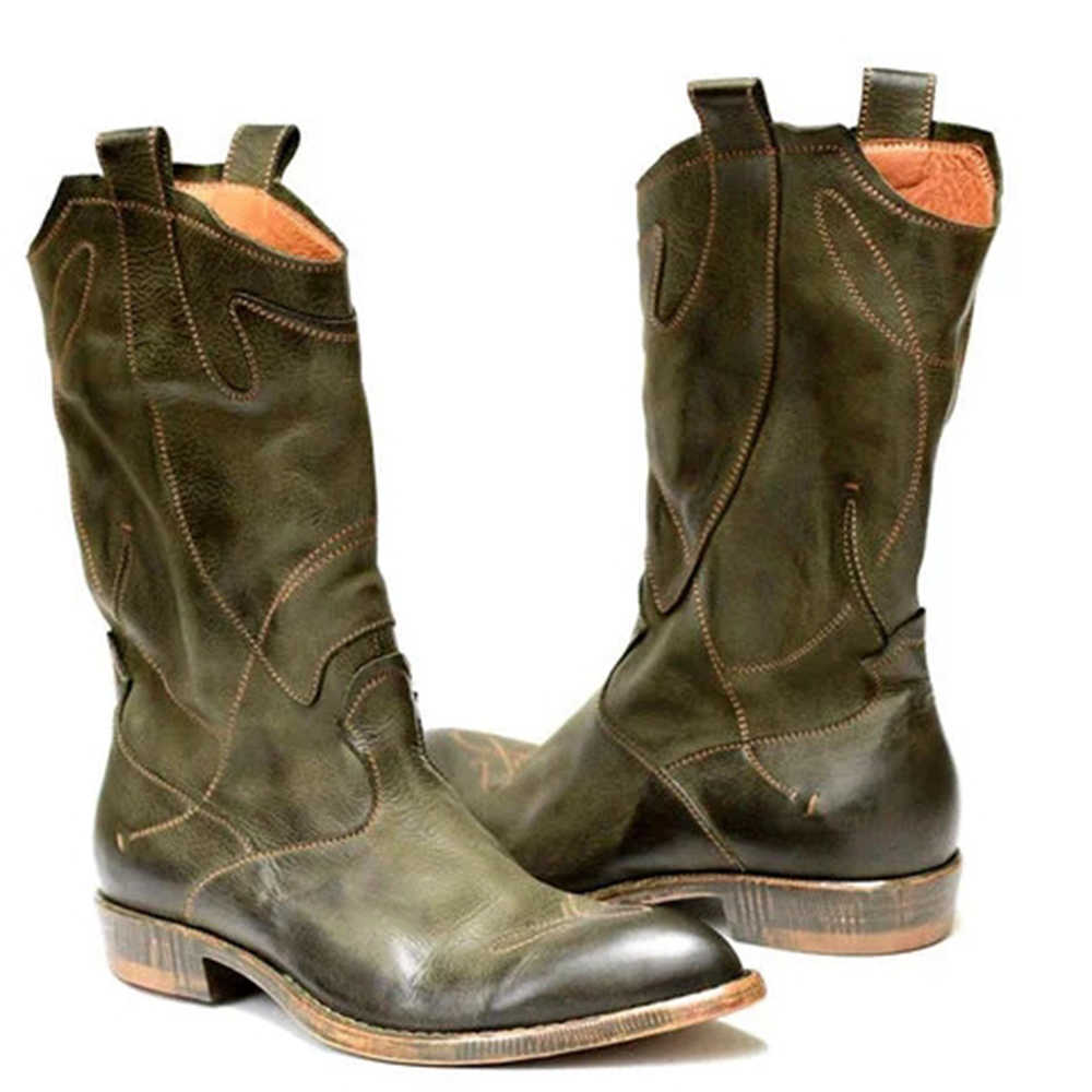 Botas ocidentais femininas inverno meados de tubo cavaleiro senhora retro roma deslizamento de salto baixo sapatos de couro larga bezerro cowboy botas