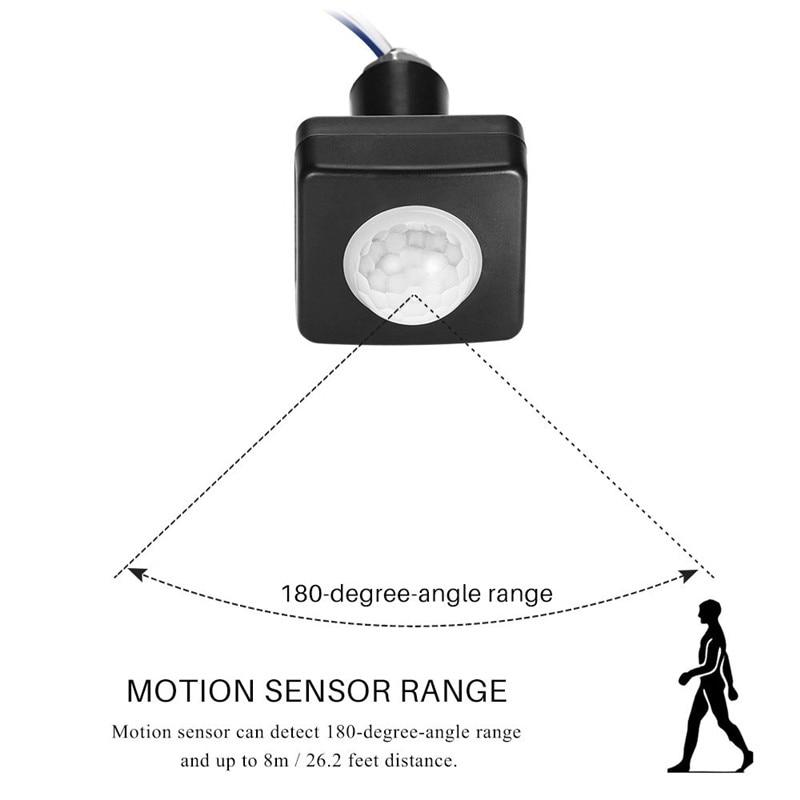 Home Security Alarm Systen LED PIR High Sensitivity Motion Sensor Detector Waterproof Outdoor IP65 Adjustable PIR Switch
