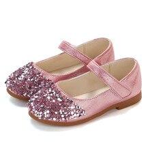 Дети младенец Начинающий ходить малыш ребенок розовый Кожа bling Обувь Девушки Кристалл тонкие туфли вечерние туфли принцессы на липучке круглый носок сандалии