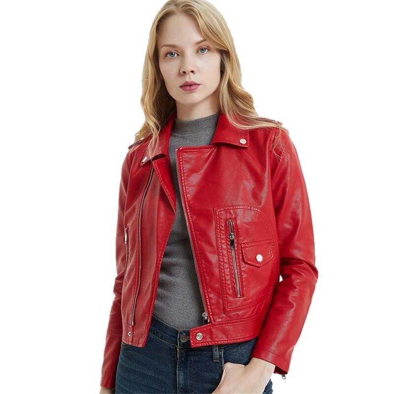 Cropped Vegan Leather Zip Detail Jacket Red