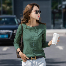 4 Color Autumn O-neck T-shirt Womens Harajuku Fashion Slim Long-sleeved Cute Sexy Street 100% Cotton Stretch