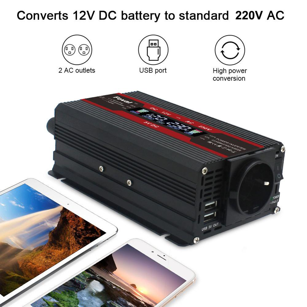 3000W Power Inverter Modified Sine Wave LCD Display DC 12V To AC 220V Solar 2 USB Car Transformer Convert EU Socket