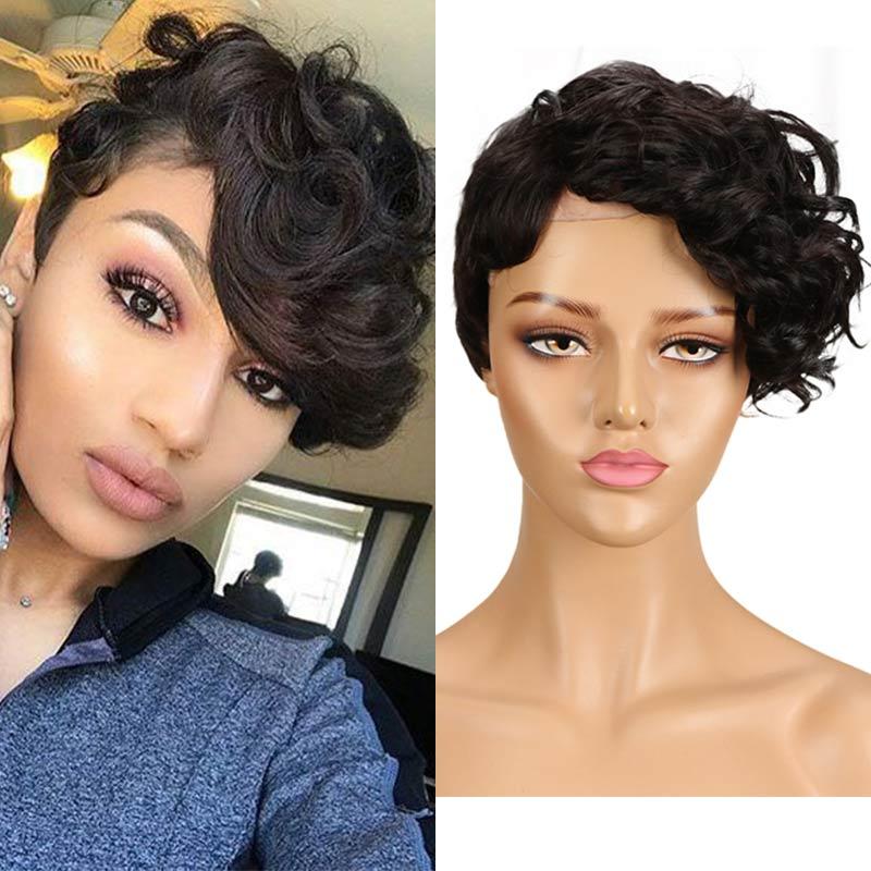 Rebecca Pixie Cut Wigs For Black Women Cheap Wholesale Short Hair Wigs 100% Human Hair Natural Hair Afro Curly Straigh Bob