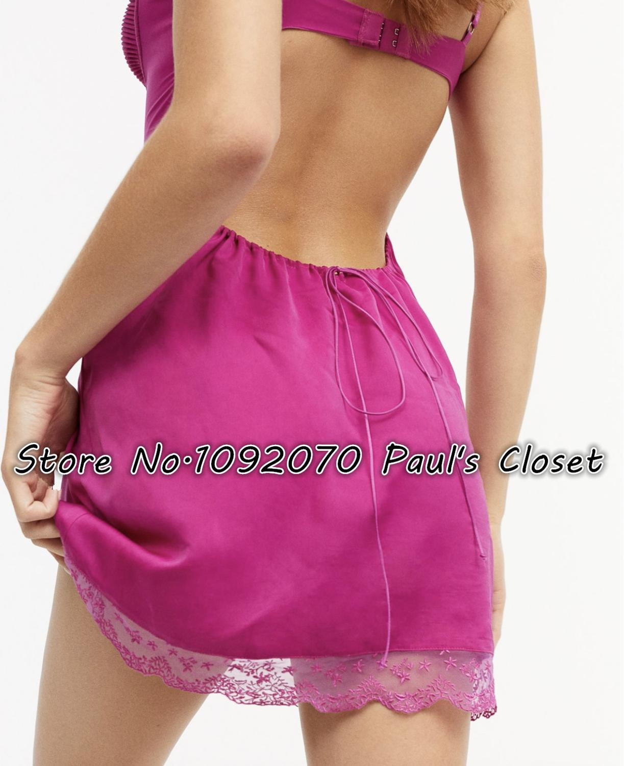 Image 2 - Women feminine sweet scalloped lace sexy laurel slip with back keyhole satin slipDresses