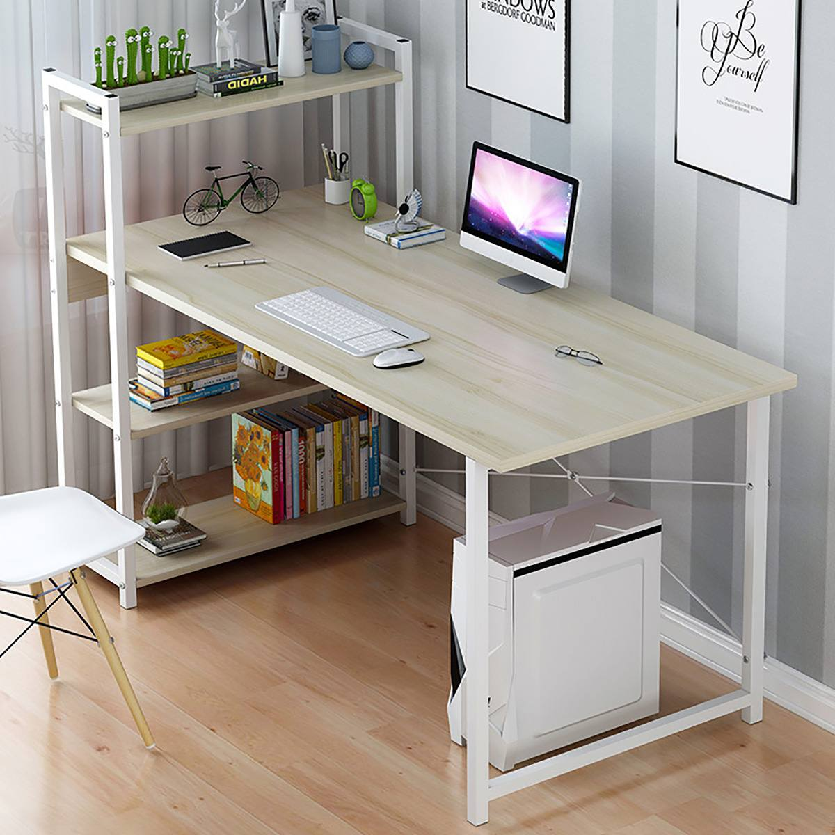 Computer Laptop Desk with Shelves Simple Modern Single Bedroom Simple Office Desk  with 4 Tiers Bookshelf Combination for Home