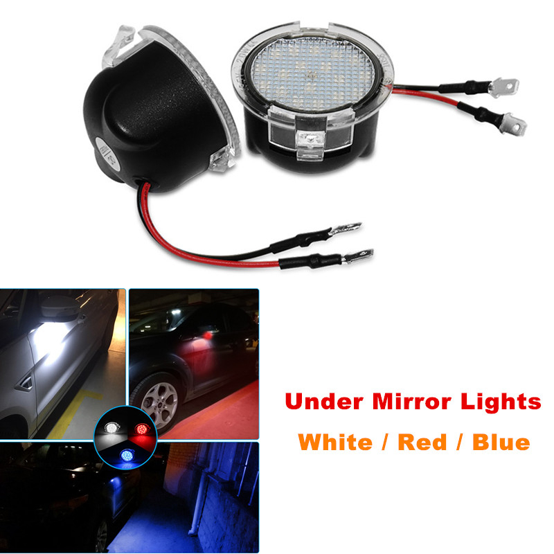 2Pcs Car LED Under Side Mirror Puddle Lights For Ford Mondeo 5 Taurus F-150 Edge Fusion Flex Explorer Expedition Raptor Mustang