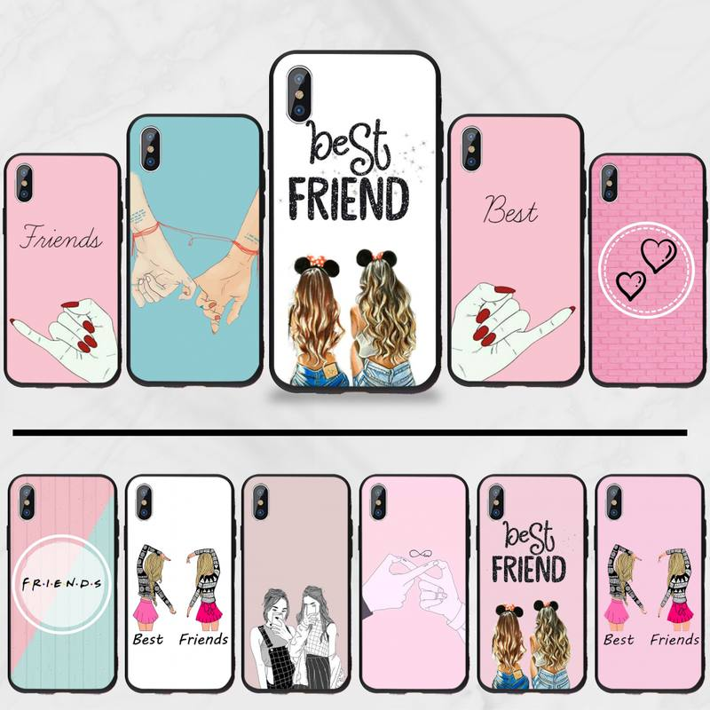 Best Sisters friend love pink Coque Shell Phone Case For iphone 5 5s 5c se 6 6s 7 8 plus x xs xr 11 pro max image