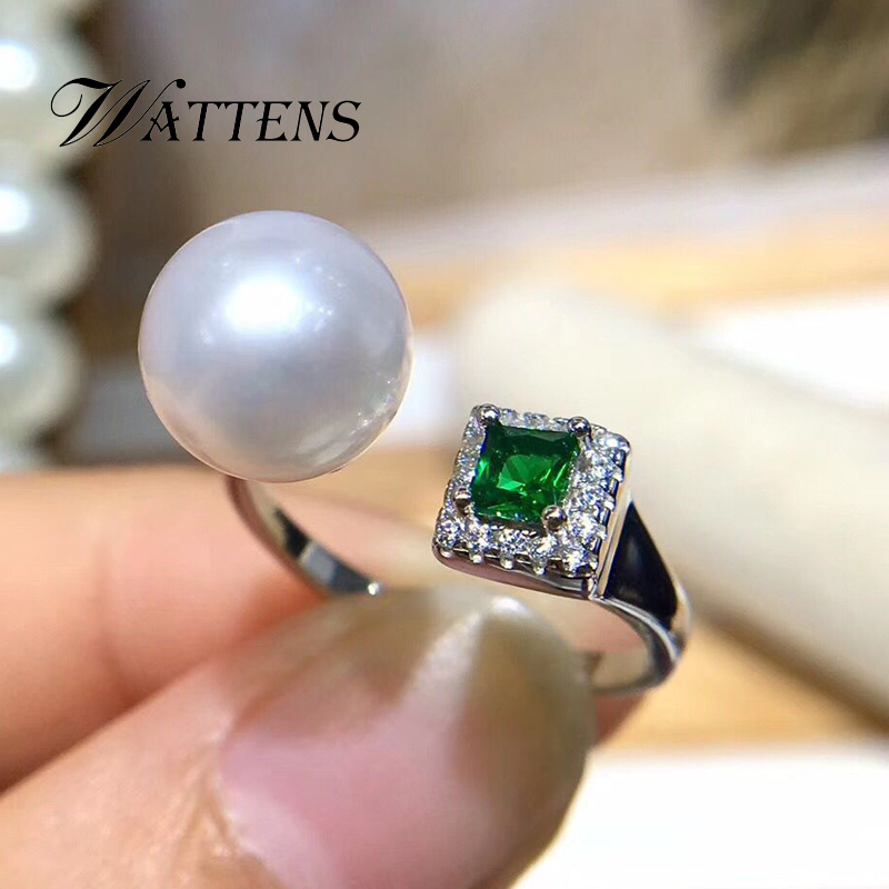 925 Sterling Silver Ring Natural Pearl Ring Women White Black Pearls Green Zircon Ring Bohemian Wedding Party Accessories Gift
