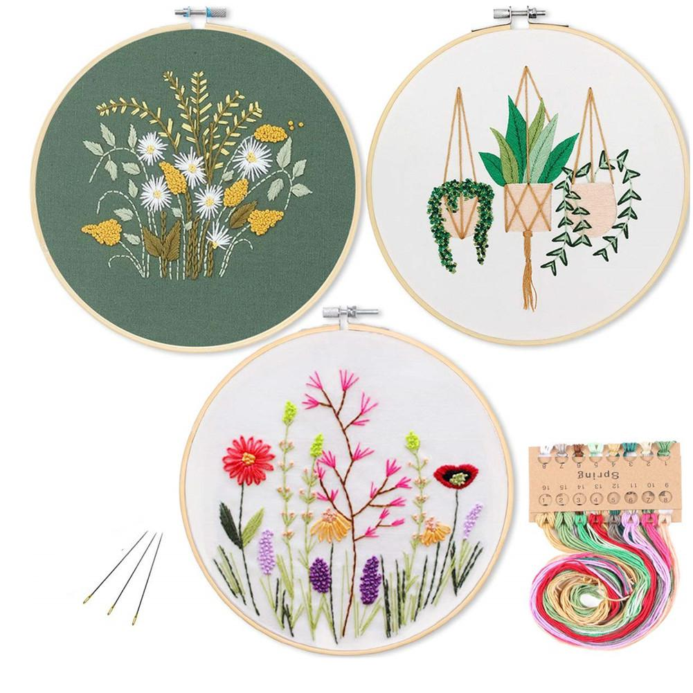 DIY Stamped Embroidery Kit For Starter Flowers Flamingo Pattern Embroidery Cloth Color Threads Tools Kit Dropshipping 30x30cm