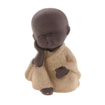 Chinese Gongfu Tea Ornaments Ceramic Little Monk Tea Pet Tea Tray Decoration image