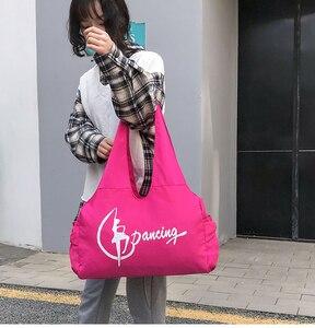 Image 5 - Jimnastik spor Yoga dans çantası kızlar için çanta Crossbody tuval büyük kapasiteli çanta kadın bale dans çantası yetişkin bale çanta