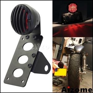 Image 1 - Black Motorcycle Side Mount Tail Light w/ License Number Plate Bracket For Harley Sportsters Bobber Chopper Rear Stop Light