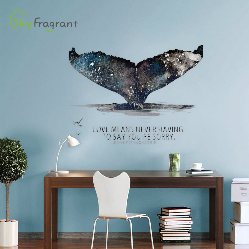 Creative Personality Wall Sticker 3D Stereo Whale Tail Stickers Bedroom Living Room Decoration Home Wall Decor House Decoration
