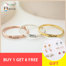 Personalized 925 Silver Custom Name Ring Engraved Initial Date Coordinates Name Delicate Stackable Rings Women Men Jewelry New delicate engraved faux gem jewelry ring for men