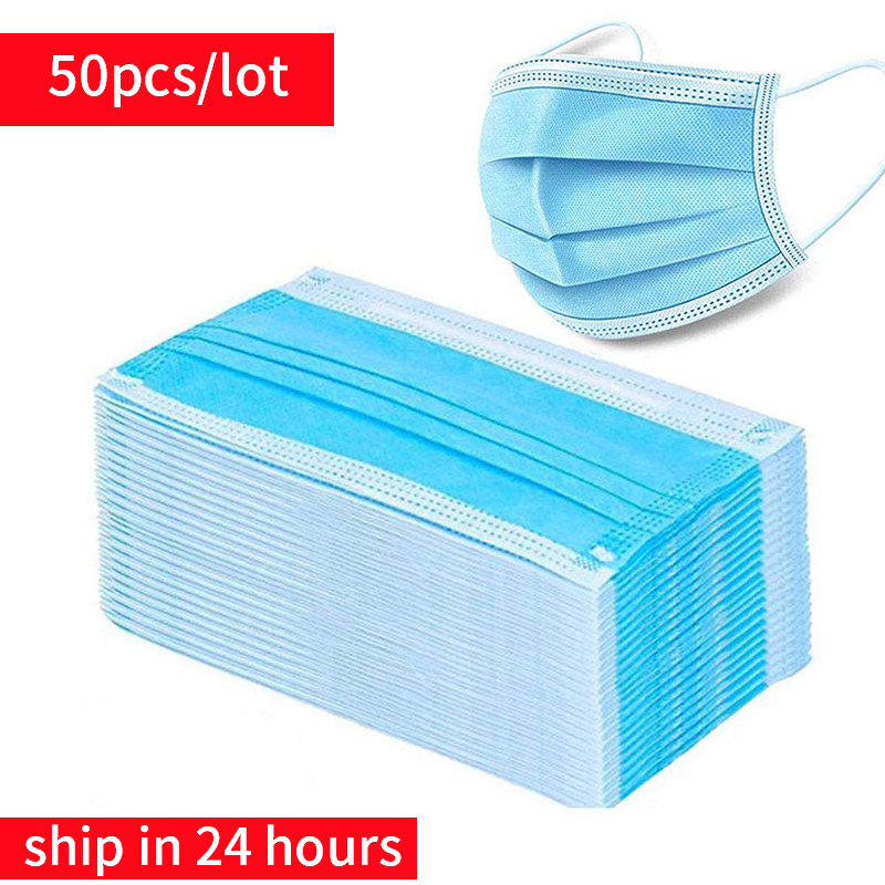 50pcs/lot Disposable Face Masks Dust Breathable Earloop Face Mask,Anti Fog Dust-proof Non-woven Melt Blown Three-layer Mask