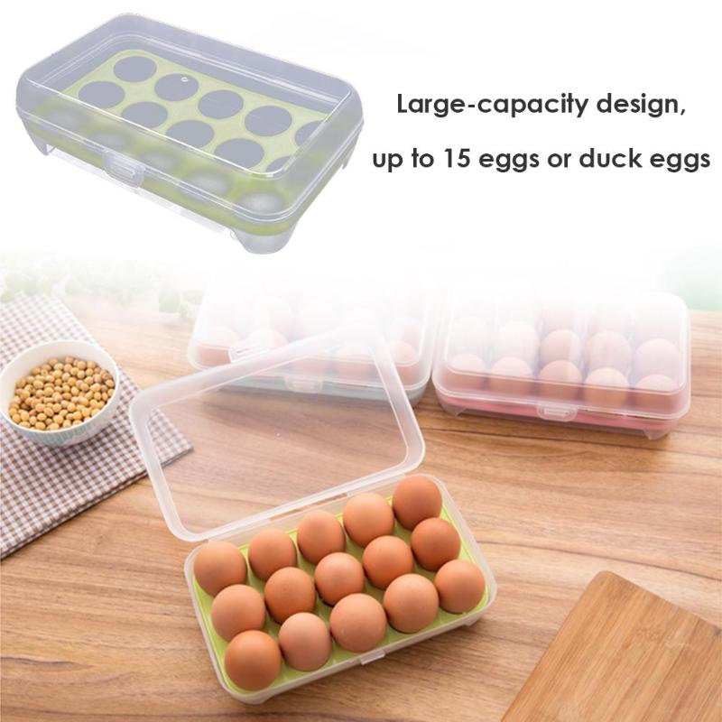 15 Grids Plastic Egg Storage Box Transparent Case Portable Wild Picnic Egg Organizer Kitchen Fridge Arrange Accessories