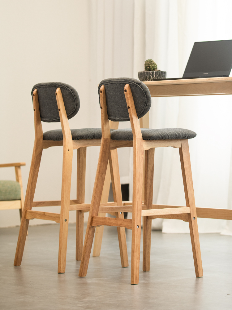 Nordic Solid Wood Bar Chair Back Home  Stool Modern Minimalist Front Desk   Creative High