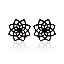 Stainless Steel Cute Black Color Lotus Flower Small Stud Earrings Charm Flower Earrings for Women Kids Jewelry Gift(China)