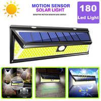 Cob 3 modos 180 led solar lâmpada ao ar livre pir sensor de movimento 4000lm led luz de parede à prova dwaterproof água emergência solar para decoração do jardim