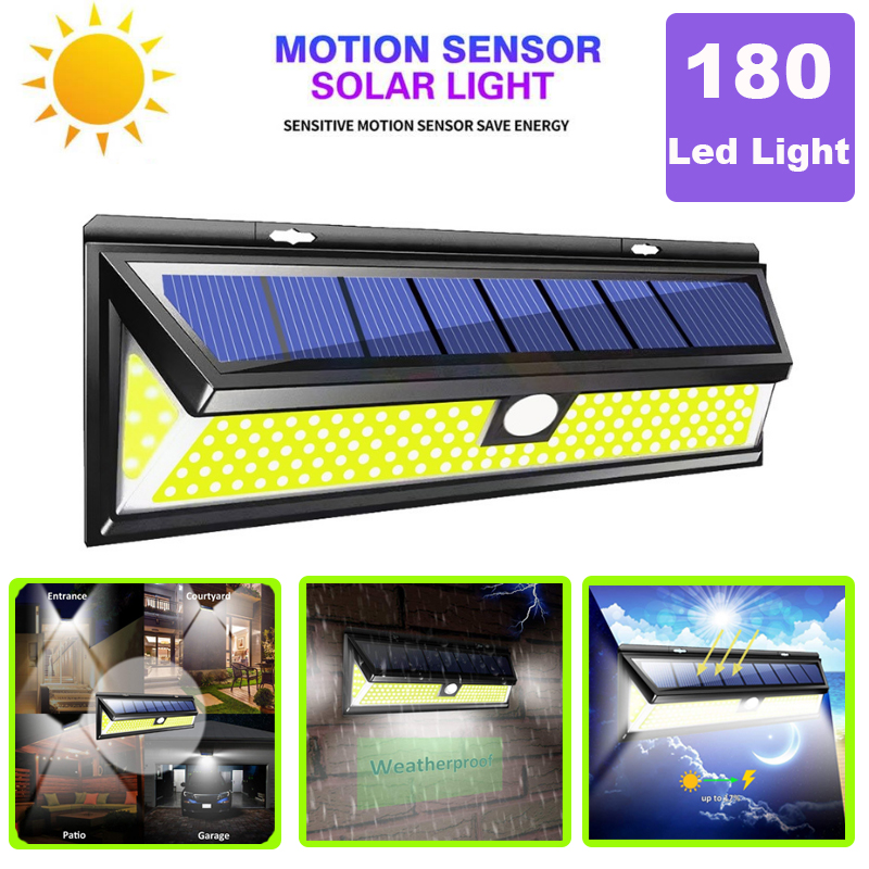 COB 3 Modes 180 LED Solar Lamp Outdoor PIR Motion Sensor 4000LM Led Wall Light Waterproof Emergency Solar For Garden Decoration