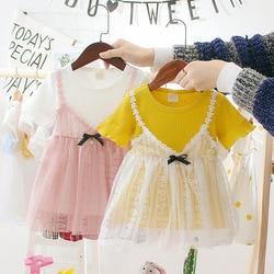 Promoção crianças verão vestir meninas estilo ocidental vestidos 0-2 anos de idade princesa roupas do bebê meninas de uma peça infantil malha vestido