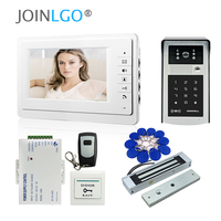 FREE SHIPPING Wire 7 Screen Video Intercom Door Phone System + Outdoor RFID Code Keypad Doorbell Camera Electric Magnetic Lock