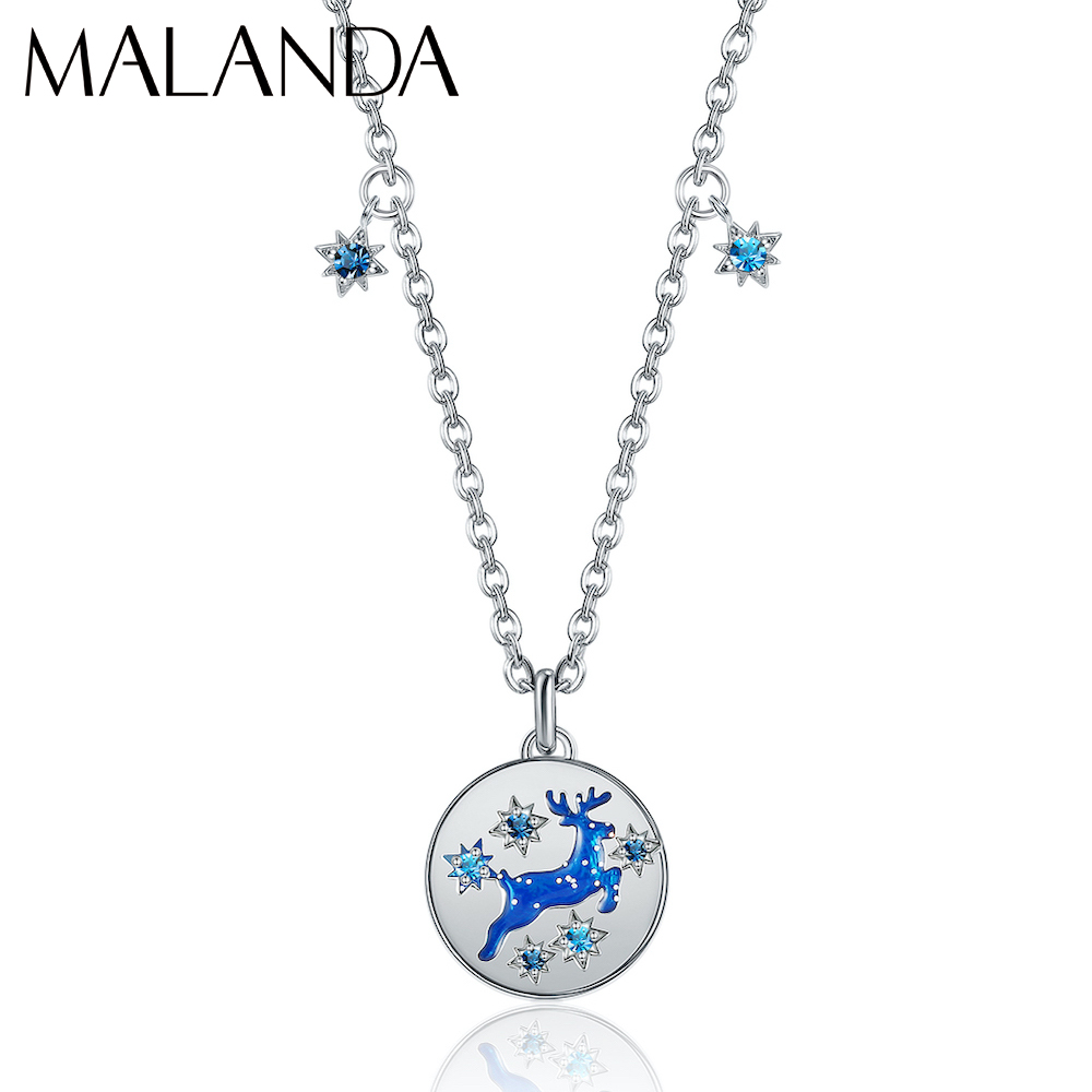 Malanda Crystals From Swarovski Round Pendant Necklaces For Women New Fashion Deer Shape Statement Necklace Wedding Jewelry Gift