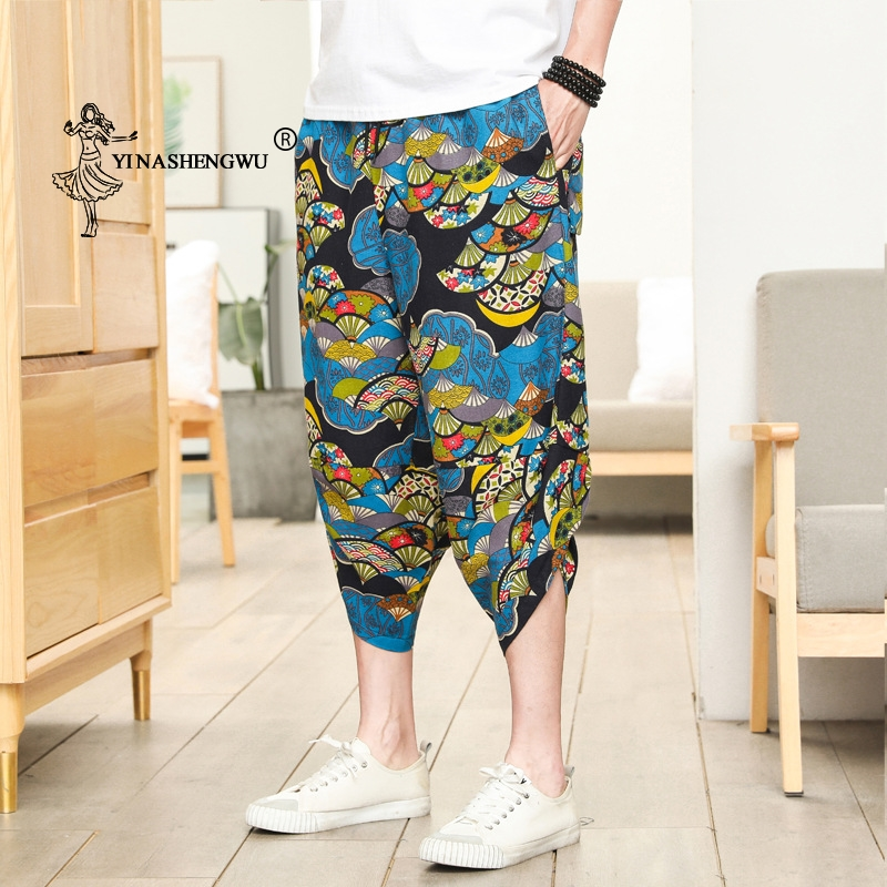 Haori Pants Beach Casual Loose Thin Print Pants Japanese Kimono Traditional Pants Asian Costume Japan Style Men Kimono Yukata