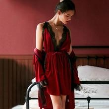Julys Lied Mode Vrouwen Winter Pyjama Set Fluwelen Robe Gown Sets Herfst Sexy Kant Sling Vrouwelijke Nachtkleding Pyjama Nachthemd