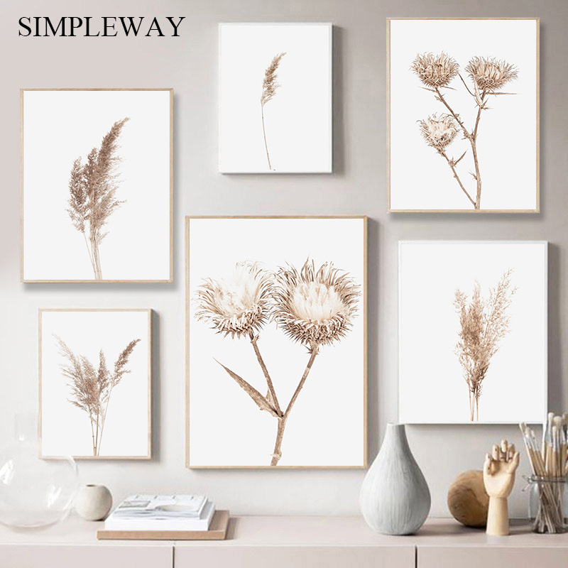 Botanical Line Art Print Dry Grass Wall Art Farmhouse Wall Decor Wheat Line Art