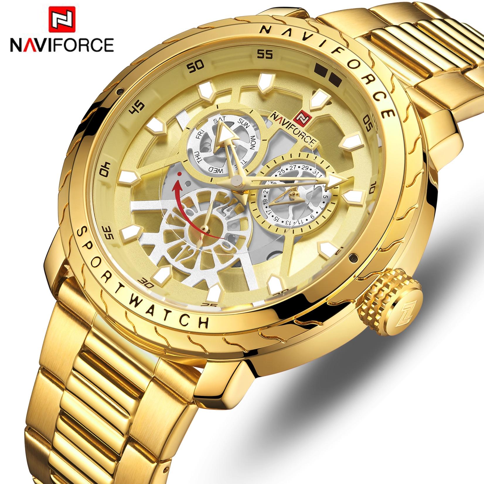 NAVIFORCE Watch Men Fashion Gold Quartz Wristwatch Stainless Steel Waterproof Sport Men's Watches Date 24 Hour Analog Male Clock|Quartz Watches| |  - title=
