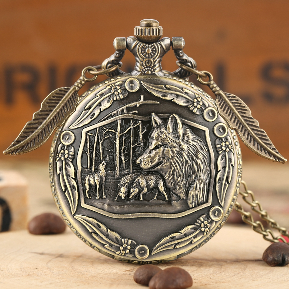 Awesome 3D Wolves Superb Sculpture Pocket Watch  Necklace Exquisite Wolf Animal Clock Creative Pendant Gifts With Leaf Accessory