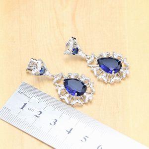 Image 5 - הפרזה כחול זירקון אבן לבן CZ 925 כסף סטרלינג נשים חתונה עגילים/תליון/שרשרת/טבעות/צמיד