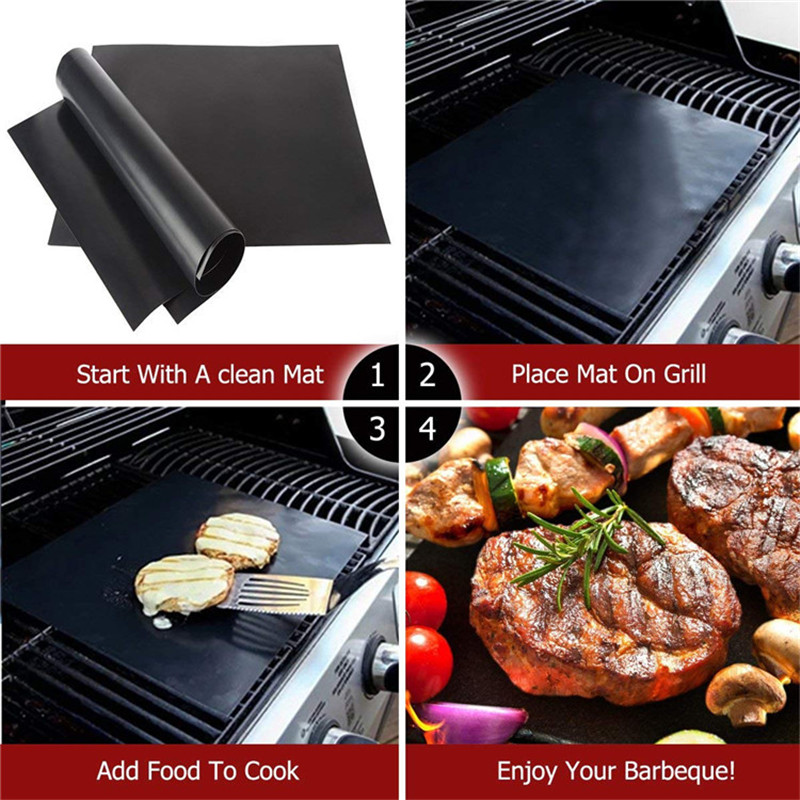 3pcs Barbecue Non-Stick BBQ Grill Mat Pad Baking Sheet Portable Outdoor Picnic Grill AccessoriesCooking Reusable Oven Tool Black
