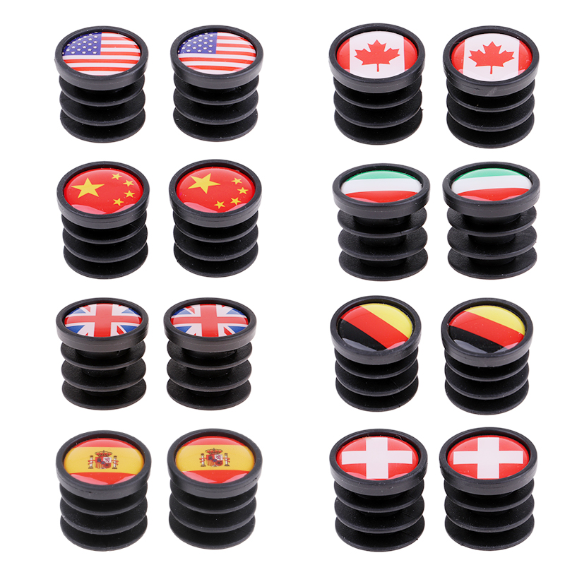 1 Pair Bicycle National Flag Handlebar End Plugs For MTB Mountain Road Bike Bicycle Grips Parts - 22mm Dia