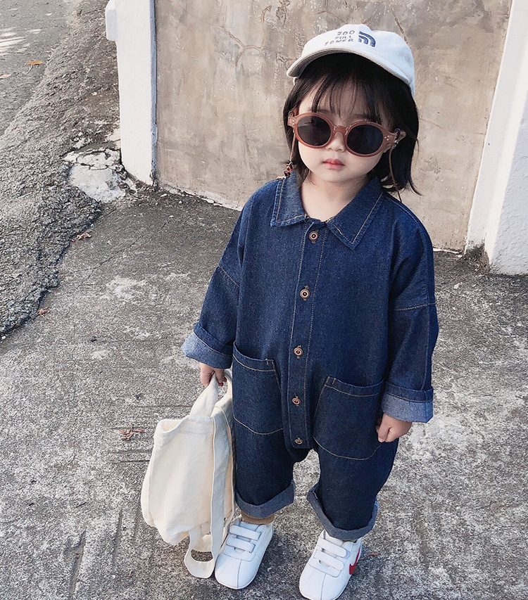 Boys and Girls Cotton with Back Print Jumpsuit Baby Kids Long Sleeve Casual Infants Climbing Clothes Little Children Rompers