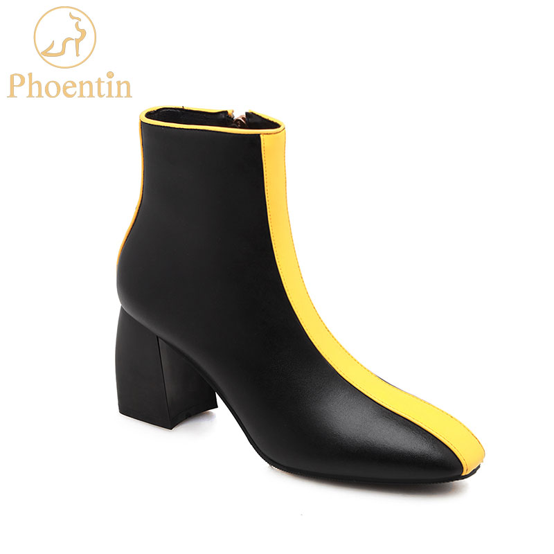 Phoentin Chuncky Boots Yellow Mixed Colors 2019 Genuine Leather Woman Shoes Zip Closure High Heels Fashion Footwear FT780